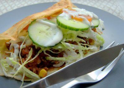 Madpandekager med chili con carne og salat…