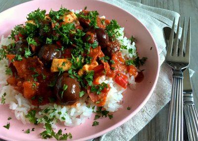 Lækker spansk kylling med chorizo…