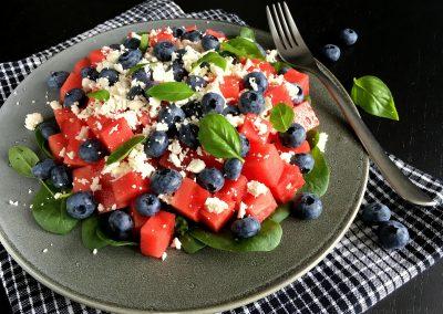 Vandmelonsalat med feta og blåbær…