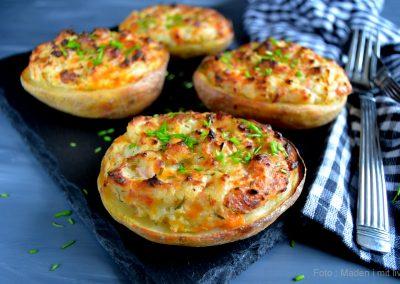 Dobbeltbagte kartofler med skinke og ost…